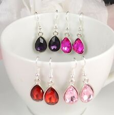 SMALL TEAR DROP SILVER TONE RED, PINK, OR PURPLE FACETED CRYSTAL EARRINGS