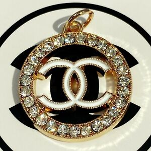 Authentic CHANEL Zipper Pull, Stamped Logo Pendant 24mm Designer Buttons Jewelry