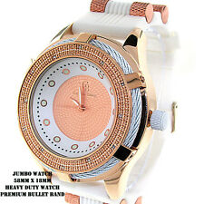 MENS ICED OUT HIP HOP ROSEGOLD/WHITE CAPTAIN BLING WATCH WITH BULLET BAND