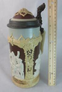 Antique 1895 VILLEROY & BOCH METTLACH 1 Liter STONEWARE BEER STEIN #1005