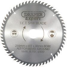 Draper 09478 circulaire mitre lame scie 210mm x 30mm x 60 dents 16mm réducteur incl