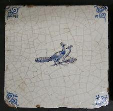 Antique Dutch Tile with Peacock