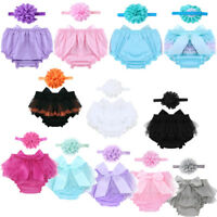 Newborn Baby Girl Ruffle Bloomers Tutu Skirt+Flower Headband Party Outfits 0-24M