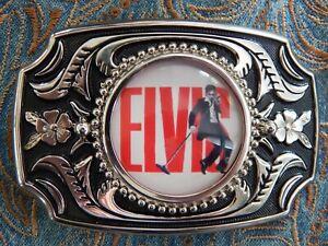 NEWEXCLUSIVE ELVIS PRESLEY  SILVER / BLACK COLOUR METAL BELT BUCKLE WEDDING