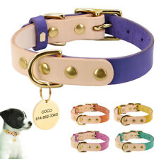 Personalized Pet Dog Leather Collars & Engraved ID Tags for Small Medium Dog Cat