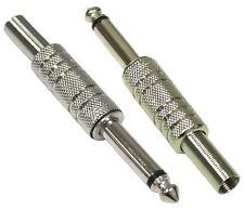 2 Jack Mono fiches connecteurs 6.3mm mâle en métal pour câble cordon rallonge