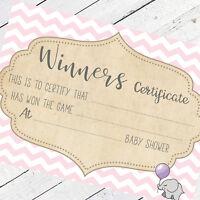 Baby Shower Winners Certificates Baby Shower Games Keepsake Baby Girl Mum Favour