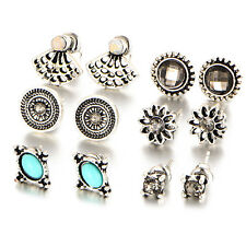 6 Pairs/Set Women Retro Rhinestone Turquoise Earrings Ear Stud Jewelry Fashion