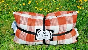 """Home Decor Throw Pillows 2Pc Buffalo check Plaid Rust feather filled 14"""" x 27"""""""