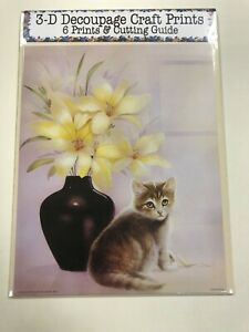 """'Kitten Sat With Black Vase """" Set of 6 Prints and Cutting Guide for Decoupage"""