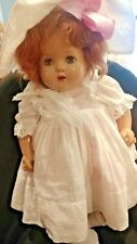"""Vintage 20"""" Composition Baby Doll w Original Outfit Red Mohair Sleep Eyes 40s"""