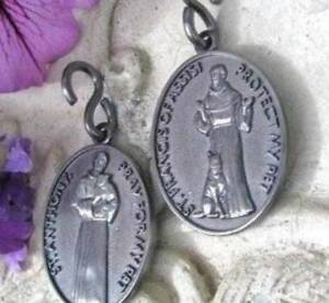 Pet Medal Charm Tag 1 inch St. Anthony and St. Francis of Assisi Cat Dog