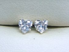 DIAMOND SILVER STUD EARRINGS 4mm  HEART CUT STERLING SILVER LAB-CREATED  sk1099