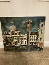Antique Oil Painting St. Paul Basilica Rome Umberto Pozzano