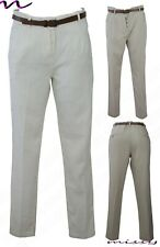 NEW LADIES WOMEN STRAIGHT LINEN TROUSERS CASUAL SUMMER HOLIDAY PANT BELT BOTTOMS