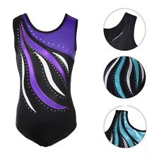 5fbabf155fa1 Gymnastic Leotard.Diamanté Gym Dance Costume.Rhinestone Body Suit.5-10 Years