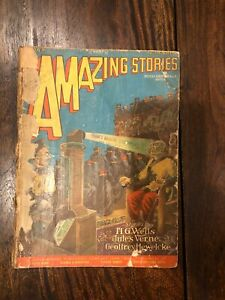 Amazing Stories Magazine March 1928 H G Wells Ed. Frank Paul Cover VINTAGE! WOW!