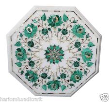 "3 PCS Wholesale Lot 12"" Marble Coffee/Sofa/ End Table Top Malachite Inlay H1731"