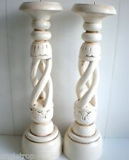 SHABBY CHIC SET 2 SPIRAL WOOD CARVED CANDLE STICK HOLDERS BALI BALINESE 40CM