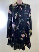 BNWOT JESSICA WRIGHT black floral print satin pussybow smock dress size L 14 42