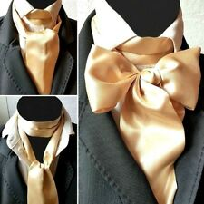 LEMON GOLD SATIN SELF TIE CRAVAT VICTORIAN STEAMPUNK WEDDING ASCOT MULTI WAY
