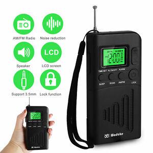 Portable LCD Digital AM/FM Clock Radio Receiver Mini Battery Powered Loudspeaker