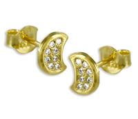 ECHT GOLD *** Kleine Zirkonia Ohrstecker Ohrringe Mond Halbmond Mondsichel 7 mm