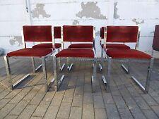 Mid-Century Dark Orange Velours and Chrome Floating Chairs MAISON JANSEN