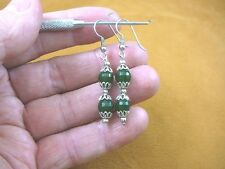 (ee405-2) 8 mm Green Jade Canada gemstone 2 bead + silver caps dangle earrings