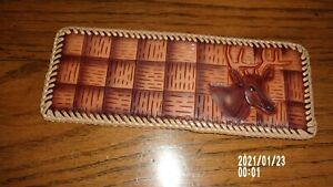 western deer leather wallet new tooled laced bi-fold men's