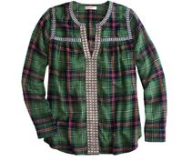JCrew Peasant Top Embroidered Green Plaid Peasant Popover Long Sleeve 10 Tunic