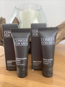 CLINIQUE FOR MEN Moisturising Lotion 15ml & Facial Scrub 15ml NEW