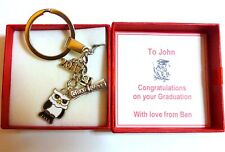 Congratulations on Graduation Key ring in Personalised Box with Gift Tag & Bag