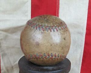 """Vintage 1930s Leather Official Softball w/ Red & Blue Stitching 12"""" Ball Antique"""