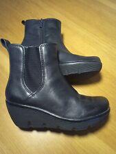 Clarks Artisan Women's Ankle  Wedge Boots Side Zipper Black Size UK 3.5D
