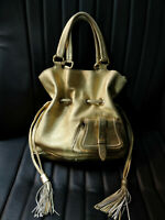 Lancel Premier Flirt Gold Pebbled Leather Bucket Bag Drawstring Tassel Tote