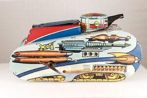 "Marx Rex Mars X-1 Planet Patrol Sparkling Space Tank 1950's 10"" Excellent Works"