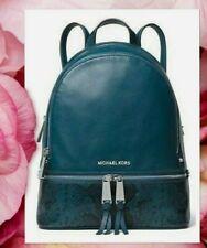 NWT MICHAEL KORS RHEA Medium Backpack In LUXE TEAL Pebbled/Embossed Leather $328