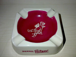 Aschenbecher Zigarrenascher DOPPEL FLITZER Halbbitter * Porzellan 60s/70s * LOOK
