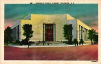 Vintage Postcard - White Boarder Public Library Brooklyn New York #4126