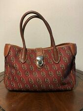 DOONEY & BOURKE Satchel Burgundy Red Canvas Leather PushLock Purse Bag
