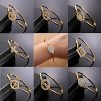 Fashion 18k Gold Filled CZ Cross Mother's Day Bangle Bracelet Lady Women Jewelry