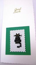 Good Luck Card Completed Cross Stitch Black Cat 8.25x4""