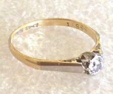 9 ct  gold  Diamond 0.10 pt set in platinum ring  size R 2.55  gms  #341