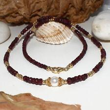 Rubin Kette mit Akoya – 925 Silber vergoldet – rot weiß Salzwasser Perle