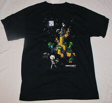 XL T-SHIRT MENS MINECRAFT STEVE VIDEO GAME CREEPER SPIDER ZOMBIE SKELETON BLACK!