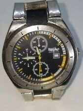 MOSSIMO MEN A126-06 QUARTZ Silver and Leather Band Watch