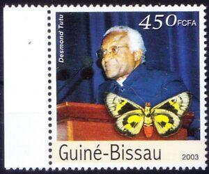 Guinea Bissau 2003 MNH, Desmond Tutu, Africa, Nobel Peace, Butterflies