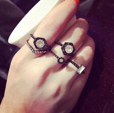 5PCS/Set Black Urban Crystal Stack Plain Above Knuckle Band Midi Ring Fashion