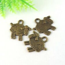 60X Vintage Style Bronze Tone Lovely Sheep Pendant Charms 10*10*1mm